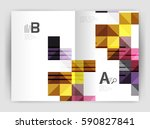 minimalistic square brochure or ... | Shutterstock .eps vector #590827841