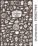 kitchen tools   food   doodles... | Shutterstock .eps vector #590827964