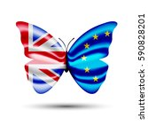 butterfly with flags of great... | Shutterstock .eps vector #590828201