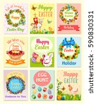 easter greeting card set.... | Shutterstock .eps vector #590830331