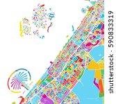 dubai colorful vector map ... | Shutterstock .eps vector #590833319