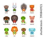 cartoon walrus and rabbit ... | Shutterstock .eps vector #590843921