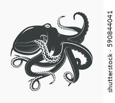 mascot or tattoo of octopus... | Shutterstock .eps vector #590844041