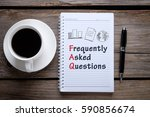 notebook  pen and a cup of... | Shutterstock . vector #590856674