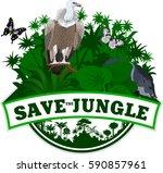 vector jungle emblem with... | Shutterstock .eps vector #590857961
