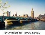 big ben and westminster bridge... | Shutterstock . vector #590858489