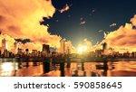 fantastic big setting sun and... | Shutterstock . vector #590858645