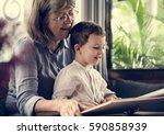 grandmother grandson family... | Shutterstock . vector #590858939