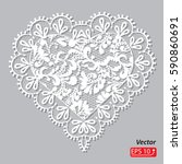 white lace heart  greeting card ... | Shutterstock .eps vector #590860691