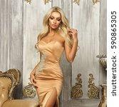 pretty sexy blonde woman... | Shutterstock . vector #590865305