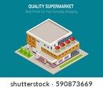 isometric large supermarket...   Shutterstock .eps vector #590873669