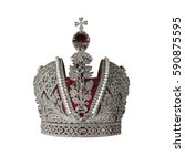 silver crown with jewels... | Shutterstock . vector #590875595