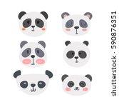 set of cute pandas. funny... | Shutterstock .eps vector #590876351