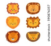 set of cute lions. funny doodle ...   Shutterstock .eps vector #590876357