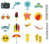 summer rest set icons in flat... | Shutterstock .eps vector #590879939