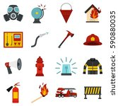 fireman tools set icons in flat ... | Shutterstock .eps vector #590880035