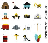 miner set icons in flat style... | Shutterstock .eps vector #590881001