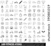 100 fitness icons set in... | Shutterstock .eps vector #590881019