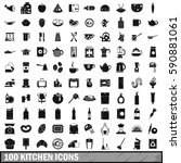 100 kitchen icons set in simple ... | Shutterstock .eps vector #590881061