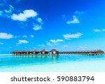 beach and beautiful tropical sea | Shutterstock . vector #590883794