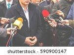journalists conducting... | Shutterstock . vector #590900147