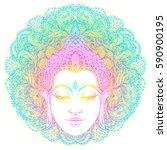 head of buddha over ornate... | Shutterstock .eps vector #590900195