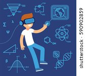 virtual reality use in learning ... | Shutterstock .eps vector #590902859