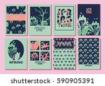 hello spring | Shutterstock .eps vector #590905391