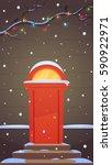 red retro door  branches...   Shutterstock .eps vector #590922971