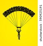 parachuting silhouette designed ... | Shutterstock .eps vector #590925191