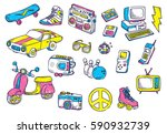hand drawn vintage object... | Shutterstock .eps vector #590932739