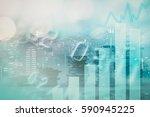 double exposure of city  credit ... | Shutterstock . vector #590945225