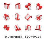 3d rendering of many white gift ... | Shutterstock . vector #590949119