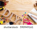 diy wood font style on a wooden ... | Shutterstock . vector #590949161