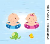 baby in the pool. vector... | Shutterstock .eps vector #590971481