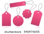 set of pink price tags with... | Shutterstock .eps vector #590974055