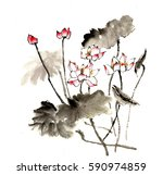 chinese style drawings ... | Shutterstock . vector #590974859