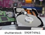 close up inside of hard disk... | Shutterstock . vector #590974961