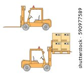 forklift truck in flat cartoon...   Shutterstock .eps vector #590977589