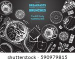breakfasts and brunches top... | Shutterstock .eps vector #590979815