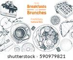 breakfasts and brunches top... | Shutterstock .eps vector #590979821