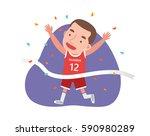 a runner running through the... | Shutterstock .eps vector #590980289