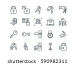 keys and locks. set of outline... | Shutterstock .eps vector #590982311