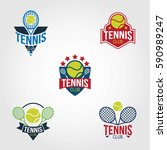 tennis logo design vector. | Shutterstock .eps vector #590989247