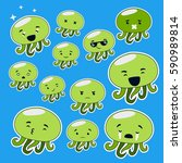 vector emotion set of isolated... | Shutterstock .eps vector #590989814
