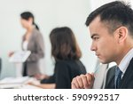 young business man thinking... | Shutterstock . vector #590992517