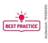 best practice. badge with bulb... | Shutterstock .eps vector #591005351