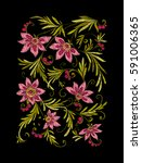 embroidery. embroidered design... | Shutterstock .eps vector #591006365