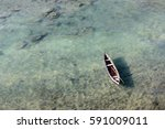 Lonely Boat In A Sea From Top...