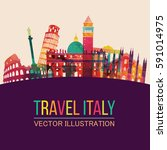 italy detailed skyline. vector... | Shutterstock .eps vector #591014975